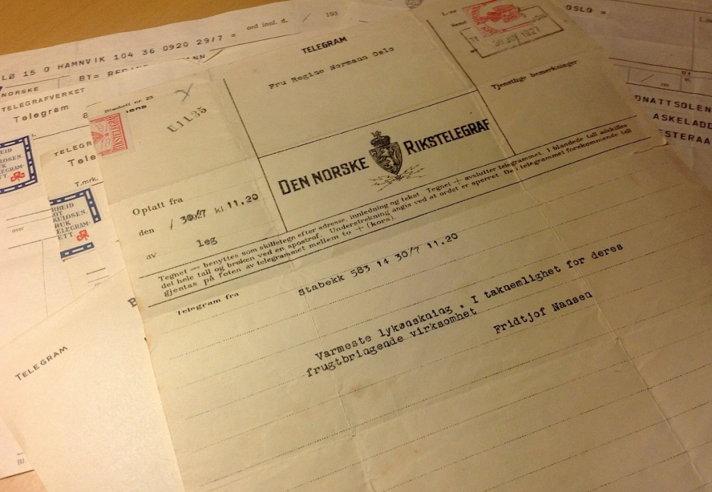 Telegram von Fridtjof Nansen an Regine Normann 2927