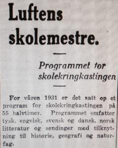 Skolekringkasting Dagebladet 06.02.1931