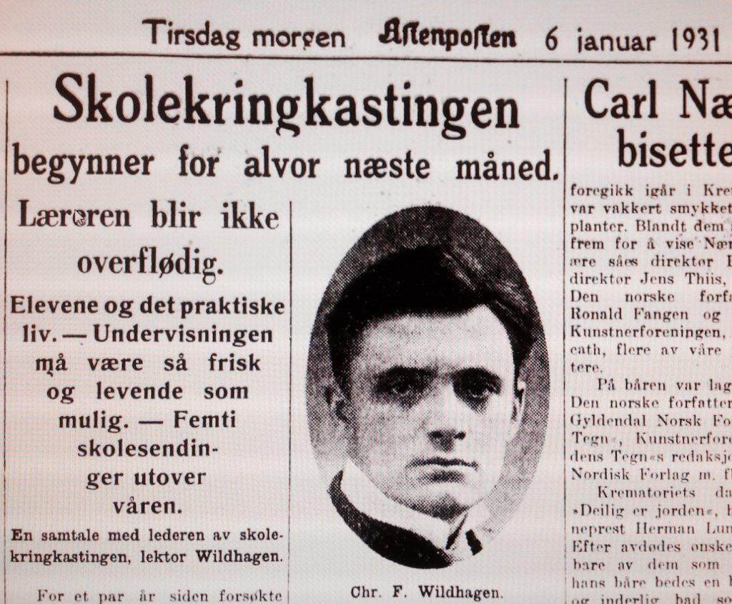 Skolekringkasting Aftenposten Januar 1931