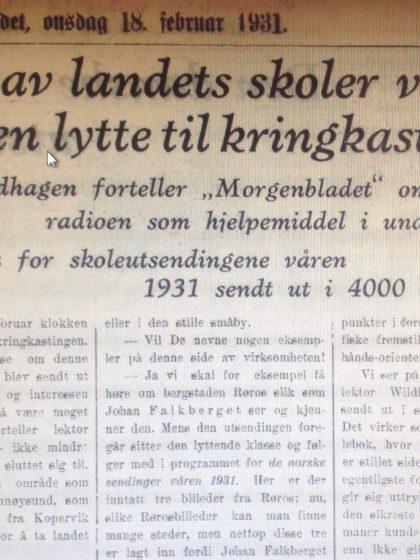 Skolekringkasting og Regine Normann Morgenbladet 1931
