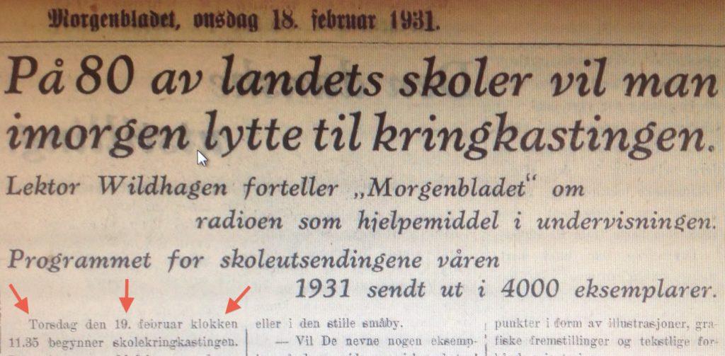 Skolekringkasting og Regine Normann Aftenposten Januar 1931