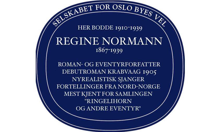 Regine Normann blaues Schild Stensgate 3 Oslo Crowdfunding