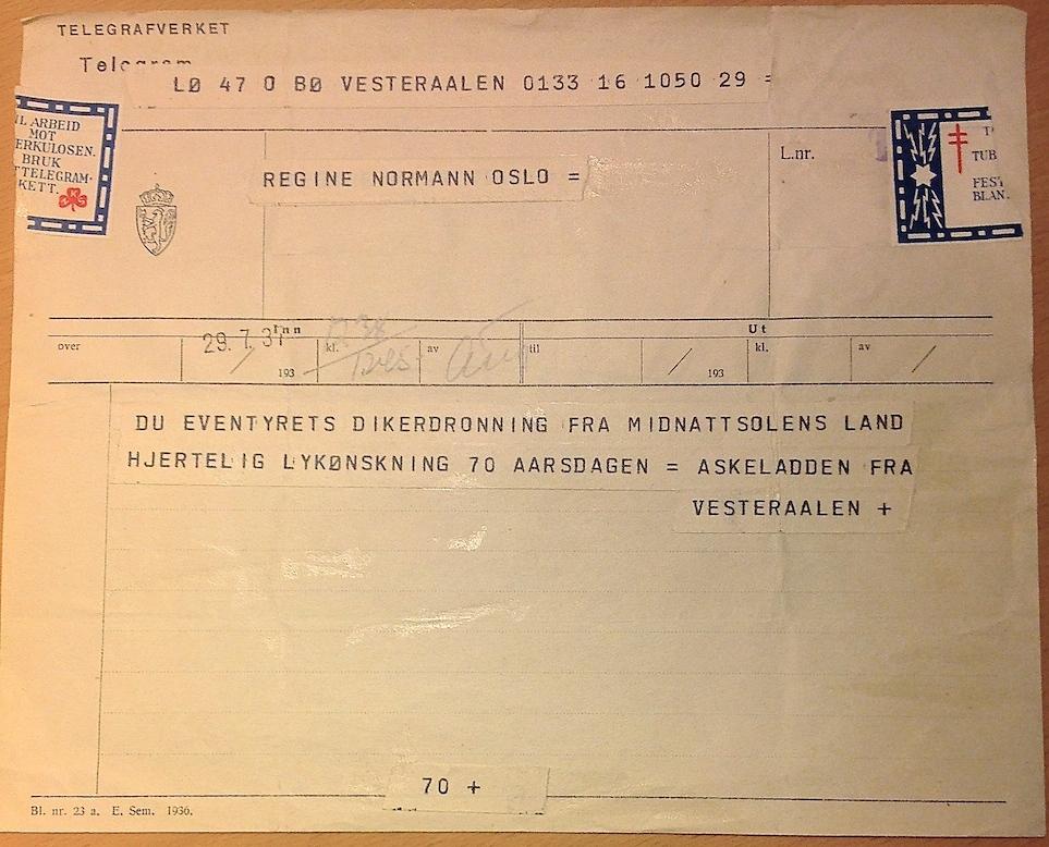 Regine Normann fikk telegram fra Askeladden